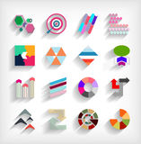 3d flat geometric abstract business icon set Stock Photos