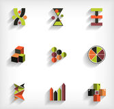 3d flat geometric abstract business icon set Stock Photo