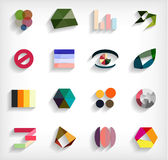 3d flat geometric abstract business icon set. This is file of EPS10 format Stock Illustration