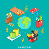 3d Flat isometric Globe icon vector Online store b. Flat isometric Globe connected with Pizza box, credit card, valet, shop basket, smartphone vector Stock Photo