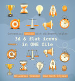 3d and flat set icons Stock Photos