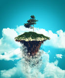 3D floating island exploding into the sky Stock Images