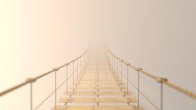 3D flockig auf der hängenden Brücke, die im Nebel verschwindet Stockfotos
