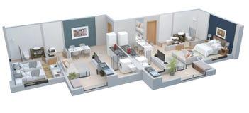 3D Furnished House Interior On A Blueprint Stock Illustration ...