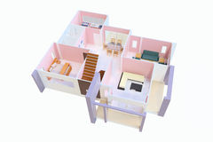 3D floor plan. Top view of a house isolated on white background Royalty Free Stock Photos