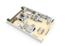3d floorplan from above birds eye view royalty free stock photo