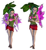 3D Floral Fairy. Digitally rendered image of a cute floral fairy on white background Stock Images