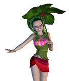 3D Floral Fairy. Digitally rendered image of a cute floral fairy on white background Royalty Free Stock Images