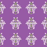 3d floral seamless pattern background. Texture with Purple Lilac flowers, leaf and petals vector illustration. 3d floral seamless pattern background. Texture stock illustration