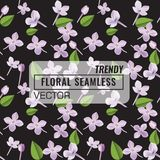 3d floral seamless pattern background. Texture with Purple Lilac flowers, leaf and petals vector illustration. 3d floral seamless pattern background. Texture royalty free illustration