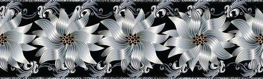 3d florece la frontera inconsútil Modelo floral de la repetición Flouri del vector Imágenes de archivo libres de regalías