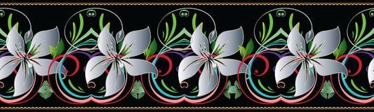 3d florece la frontera inconsútil Modelo floral del vintage Harina del vector Imagen de archivo