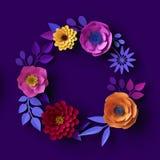 3d flores de papel coloridas, fundo botânico de néon, grinalda floral redonda, quadro vazio, molde do cartão do boho fotos de stock royalty free