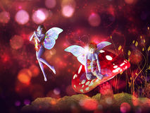 Magic mushroom fairy. 3d flower fairy on mushroom over colorful bokeh background Royalty Free Stock Photos