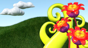 3D Flower. S  with 3d fresh green grass background Royalty Free Stock Photos