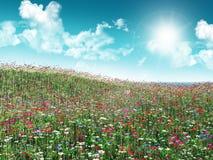 3D Flower landscape. 3D render of a flower landscape Stock Image