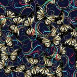 3d flowers and butterflies seaamless pattern. Abstract butterflies seamless pattern. Modern blue background wallpaper illustration with gold 3d butterflies and Royalty Free Stock Images