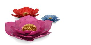 3D flowers isolated on white background 3D illustration. 3D flowers isolated on white background 3D illustration royalty free illustration