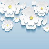 3d flowers sakura white, trendy beautiful wallpape. R. Greeting or invitation card with stylized flowers sakura and leaves. Modern stylish background. Vector Stock Images