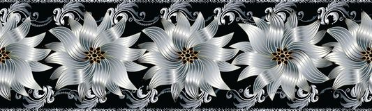 3d flowers seamless border. Floral repeat pattern. Vector flouri. Sh black background with silver white gold surface 3d flowers, scroll leaves, grunge lines and Royalty Free Stock Images