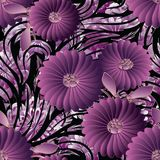 3d flowers seamless pattern. Vector floral background wallpaper. Illustration with vintage hand drawn 3d violet purple flowers, ornamental leaves and line art Stock Photo