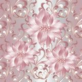 Pink 3d flowers seamless pattern. 3d flowers seamless pattern. Vintage silver floral background wallpaper illustration with pink abstract 3d flowers, scroll Stock Photos