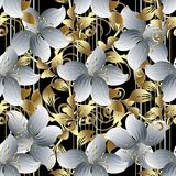 3d flowers vector seamless pattern. Black striped floral backgro. Und wallpaper with vintage white 3d flowers, gold leaves, swirls, lines, curves, decorative Royalty Free Stock Photo