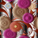 3d flowers vector seamless pattern. Surface drapery silver strip. Ed  background wallpaper with modern abstract colorful 3d flowers, leaves and hand drawn Royalty Free Stock Photos