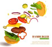 3D Flying Hamburger Illustration. 3D flying hamburger with sesame bun, lettuce and sliced vegetables, cheese, cutlet on white background vector illustration Royalty Free Stock Photography