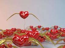 3d Flying Hearts. With golden wings Royalty Free Stock Photography