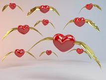 3d Flying Hearts. With golden wings Stock Photo
