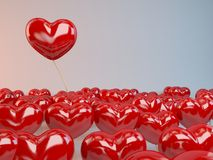 3d Flying Hearts. Group of red  hearts balloons Royalty Free Stock Photo