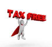 3d flying super hero in a raincoat carrying text tax free Royalty Free Stock Images