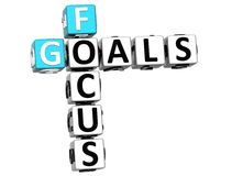 3D Focus Goals Crossword cube words. On white background Royalty Free Stock Photos