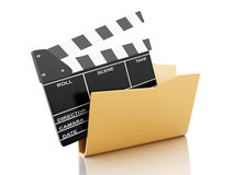 3D Folder with cinema clapper. Stock Images