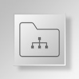 3D folder diagram Button Icon Concept Royalty Free Stock Images