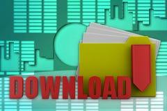 3d folder download illustration Stock Image