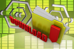 3d folder download illustration Stock Image