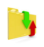 3d folder with download and upload arrows  over white Stock Images