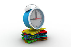 3d folder icons with alarm clock Stock Photo
