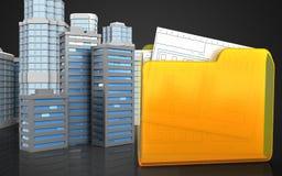 3d of folder. 3d illustration of city buildings with urban scene over black background Stock Images