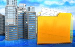 3d of folder. 3d illustration of city buildings with urban scene over sky background Stock Image
