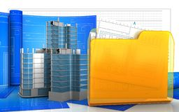 3d of folder. 3d illustration of city quarter construction with drawing roll over business graph background Stock Image