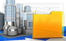3d of folder. 3d illustration of factory with urban scene over business graph background Royalty Free Stock Photo