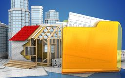 3d of folder. 3d illustration of frame house with urban scene over blue background Stock Image