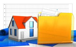3d of folder. 3d illustration of generic house over business graph background Stock Photos