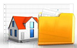 3d of folder. 3d illustration of generic house over business graph background Stock Image