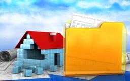 3d of folder. 3d illustration of house blocks construction over sky background Royalty Free Stock Images