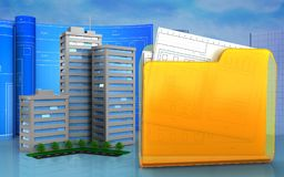 3d of folder. 3d illustration of living quarter with drawing roll over skyscrappers background Royalty Free Stock Photos