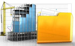 3d of folder. 3d illustration of modern building frame with crane over business graph background Stock Photo